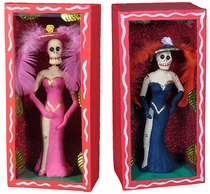 Fancy Catrina Skeleton Diorama - Assorted