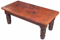 Rectangular Farmhouse Coffee Table with Copper Top