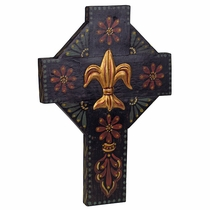 Fleur de Lis Dark Painted Wood Cross