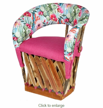Floral Cactus and Pink Padded Equipale Chair