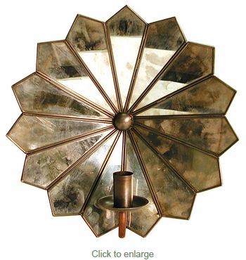Flower Candle Sconce - Antiqued Mirror Glass
