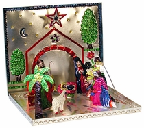 Folding Painted Tin Nativity