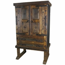 Footed Old Door Entertainment Armoire