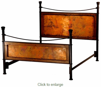 Forged Iron Bed with Copper Panels