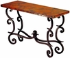 Fountain Iron Base Console Table with Copper Top