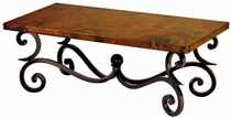 Fountain rectangular Iron Base Coffee Table with Copper Top