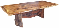 Free Form Mesquite Dining Table with Turquoise Inlay - 8 ft