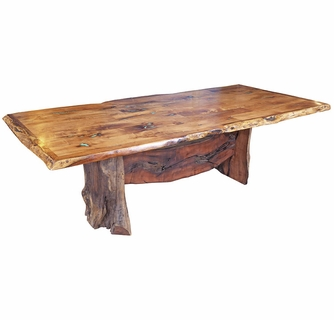 Free Form Mesquite Dining Table With Turquoise Inlay 8 Ft