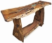 Free Form Slab Mesquite Sofa Table with Turquoise Inlay