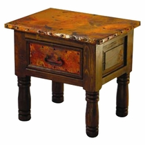French 1 Drawer End Table with Copper Top