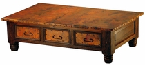 French 6-Drawer Wood Coffee Table with Copper
