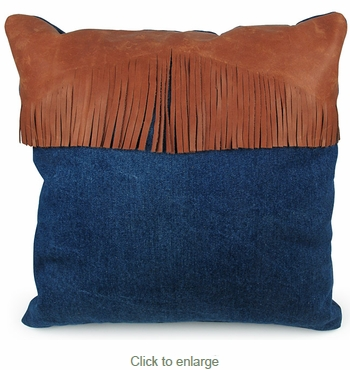 Frontier Denim and Leather Pillows - Set of 2 - 16