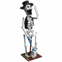 Mexican Skeleton Sculpture - Dandy with Dog