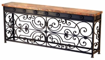 Gate Console Table Base w Copper Top
