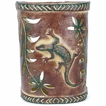 Gecko Lizard Southwest Painted Clay Wall Sconce