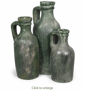Giant Aged Clay Bottles - Set of 3