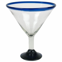 Giant Martini Display Glass - Blue Rim - Set of 2