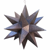 Giant Punched Tin Star Light Fixture - 3 Feet Dia
