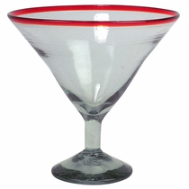 Giant Red Rimmed Martini Glass  - Set of 2