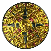Gold Aztec Calendar Ornaments - Set of 2