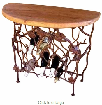 Grape Leaf Wine Console with Wood Top