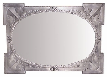 Grayed Tin Oval Mirror