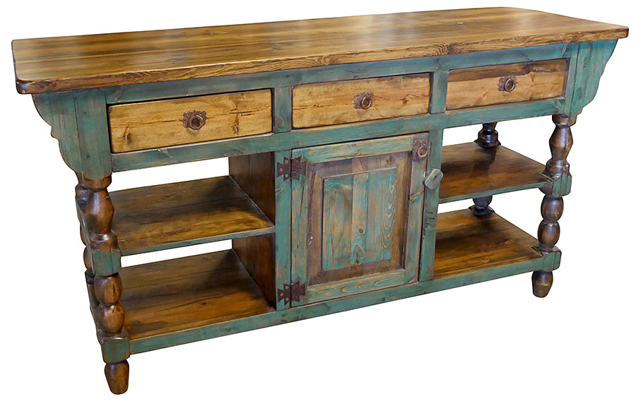Green Accent Turned Leg Rustic Wood Kitchen Island