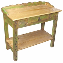 Green Painted Wood Occasional Table with Drawer and Shelf