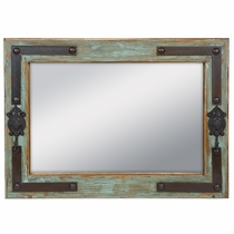 "Green Paitina Rustic Wood Mirror With Iron Coat Hooks & Nailheads - 36"" x 26"""