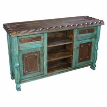 Green Patina Painted Wood Buffet with Scalloped Edge and Iron Panels
