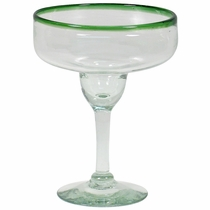 Green Rimmed Margarita Glasses - Set of 4