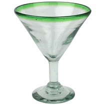 Green Rimmed Martini Glasses - Set of 4