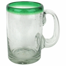 Green Rimmed Mexican Beer Mugs - Set of 4