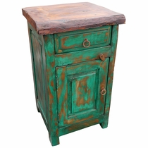 Green Rustic Painted Wood Nightstand with Mesquite Top