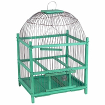 Green Wooden Bird Cage - Round Top