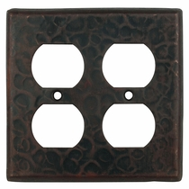 Rustic Hammered Copper Double Outlet Cover