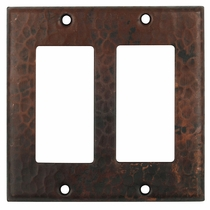 Hammered Copper Double Rocker Switch Cover