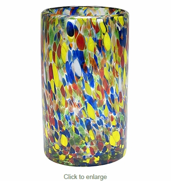 Hand Blown Confetti High Ball Glasses - Set of 4
