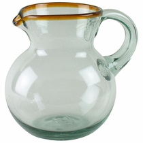 Hand Blown Mexican Glass Pitcher - Amber Rim