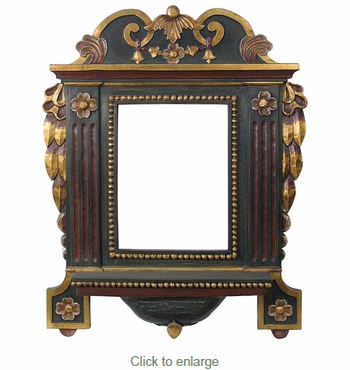 Hand Carved Painted Frame with Shelf