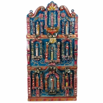 Hand Carved Painted Wooden Retablo with Figures