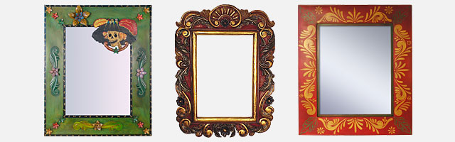 Mexican Folk Art Mirrors and Frames - Handpainted Tin and Carved Wood