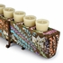 Hand Painted Mexican Folk Art 12 Hole Sugar Mold Candleholder with Iron Base