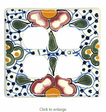 Handpainted Talavera Double Outlet Cover