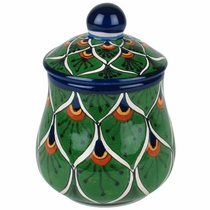 Handpainted Talavera Sugar Bowl - Peacock Pattern