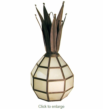 Hanging Aged Tin Frosted Glass Pineapple Light