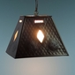 Hanging Pendant Light - Rectangular Tin Shade with Frosted Glass