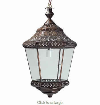 Hexagonal Punched Tin and Glass Hanging Lantern