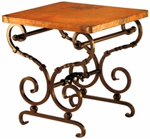 Holliman Iron Base End Table with Copper Top
