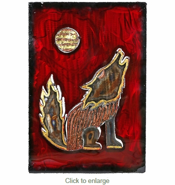 Howling Coyote 3D Metal Wall Art